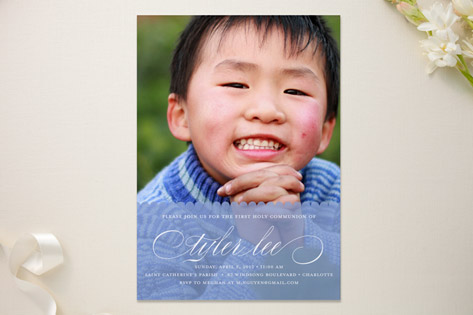 Sweet Scallop First Holy Communion Invitations