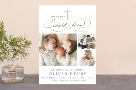 Golden Cross Foil-Pressed Holiday Birth Announcements