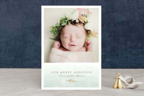 merry little addition Foil-Pressed Holiday Birth Announcements