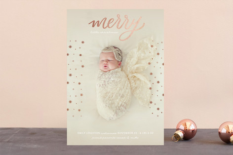 Snowy Little Christmas Foil-Pressed Holiday Birth Announcements