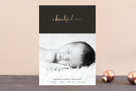Beautiful Sight Foil-Pressed Holiday Birth Announcements
