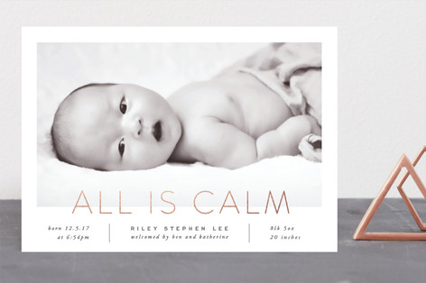 All Is Calm Foil-Pressed Holiday Birth Announcements