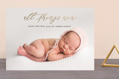 All things new Foil-Pressed Holiday Birth Announcements