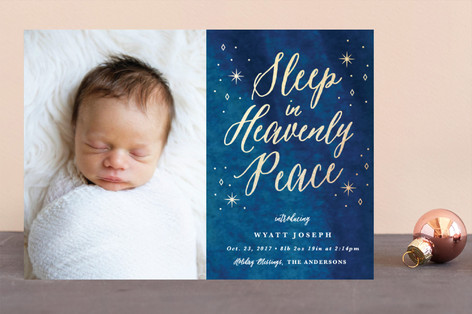 Heavenly Peace Foil-Pressed Holiday Birth Announcements