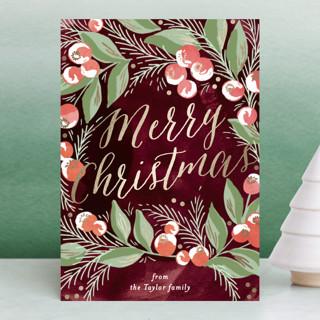 winter berries Foil-pressed Postcard