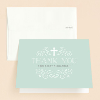 Creamy Swirls First Holy Communion Thank You Cards