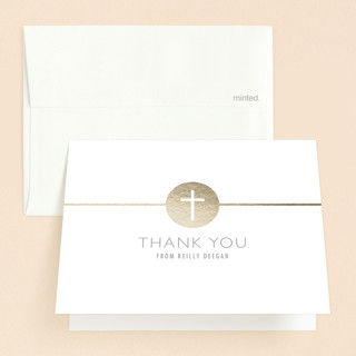 Golden Cross First Holy Communion Thank You Cards