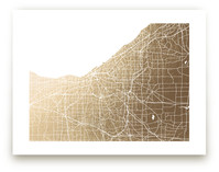 Cleveland Map Foil-Pressed Wall Art