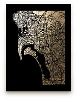 San Diego Map Foil-Pressed Wall Art