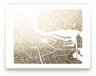 Amsterdam Map Foil-Pressed Wall Art