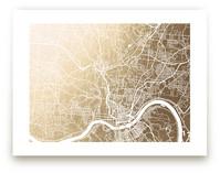 Cincinnati Map Foil-Pressed Wall Art