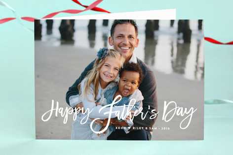 Happy Dad Script Father's Day Greeting Cards