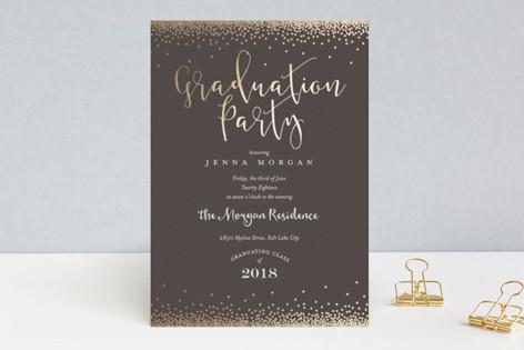 Modern Grad Party Script Foil-Pressed Graduation Announcements