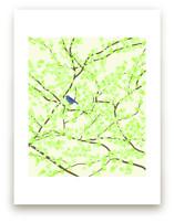 Plum tree with Birds in Spring