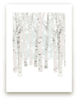 Birch Woods in Winter Art Prints