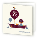 Pirate Captain Kids Birthday Greeting Cards