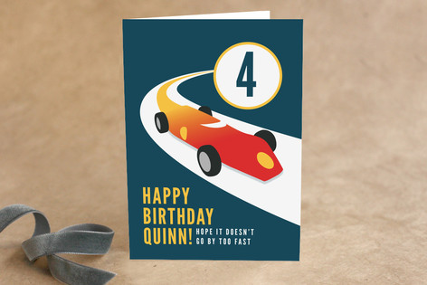 Vintage Race Car Kid's Birthday Greeting Cards
