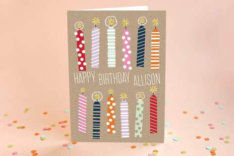 Kraft Candles Birthday Greeting Cards