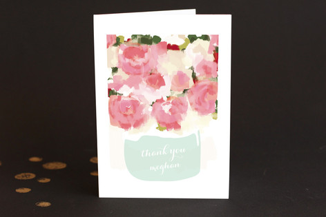 Peonies in a Vase Adult Thank You Greeting Cards
