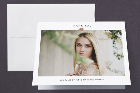 Small Cap  Foil-Pressed Graduation Announcement Thank You Cards