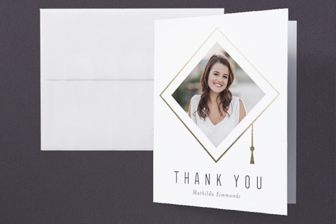 Hats Off Graduate Foil-Pressed Graduation Announcement Thank You Cards