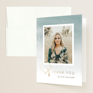 Water Color Future Foil-Pressed Graduation Announcement Thank You Cards