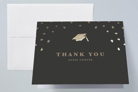 Caps Off Foil-Pressed Graduation Announcement Thank You Cards