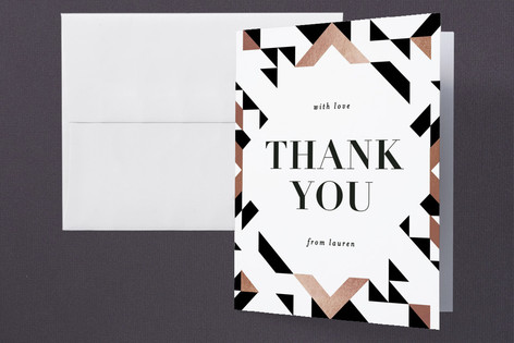 Geometric Foil-Pressed Graduation Announcement Thank You Cards