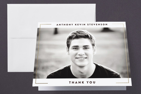 Minimalist Frame Foil-Pressed Graduation Announcement Thank You Cards