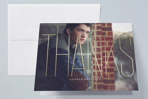Airy Foil-Pressed Graduation Announcement Thank You Cards