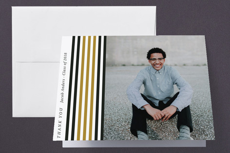 Stripe Your Colors Graduation Thank You Cards