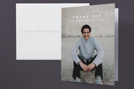 Modern Monogram Grad Graduation Thank You Cards
