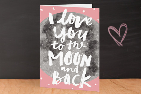 Moon And Back Valentine's Day Greeting Cards