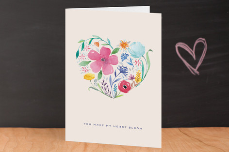 you make my heart bloom Valentine's Day Greeting Cards