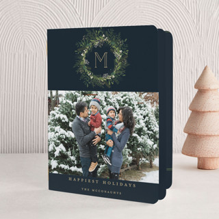 Greenery Wreath Holiday Booklette Cards