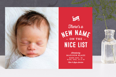 New name on the nice list Holiday Birth Announcement Petite Cards