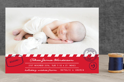 Heaven Postmark Holiday Birth Announcement Petite Cards