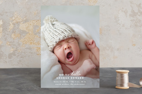 Ho Ho Hello Holiday Birth Announcement Petite Cards