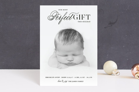 God's Perfect Gift Holiday Birth Announcement Petite Cards