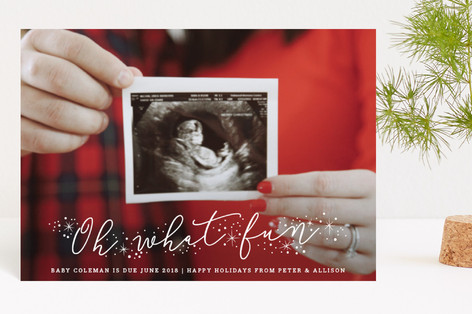 Expecting Fun Holiday Birth Announcement Petite Cards