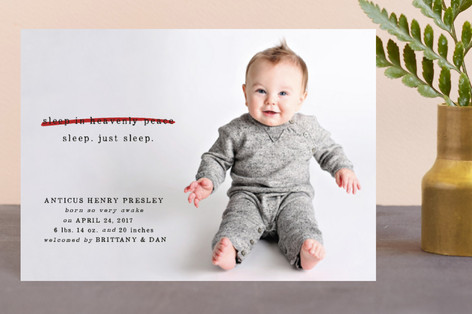 Just Sleep. Holiday Birth Announcement Petite Cards
