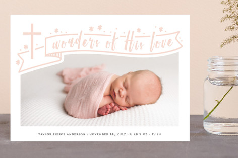 And Wonders Of His Love Holiday Birth Announcement Petite Cards