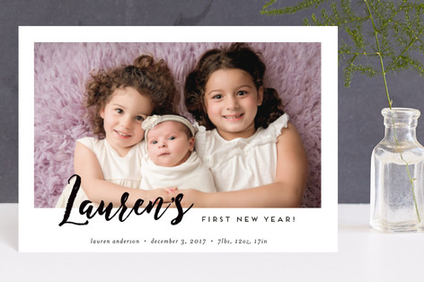 babys first new year holiday birth announcement petite cards