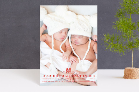 Our Double Happiness Holiday Birth Announcement Petite Cards