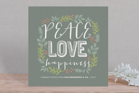 Peace Love Happiness Business Holiday Cards