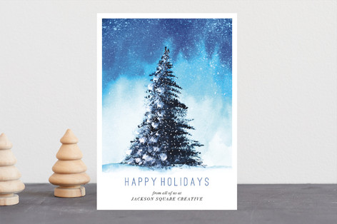 Snowy Glistening Tree Business Holiday Cards