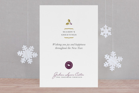 Delicate Holly Berry Business Holiday Cards