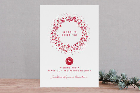 Red Wreath Business Holiday Cards