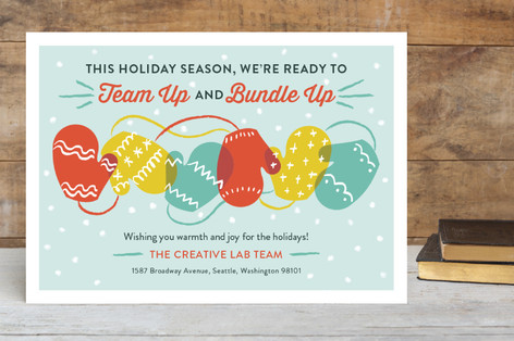 Team Up And Bundle Up Business Holiday Cards