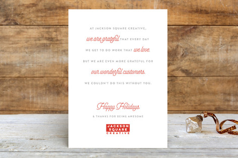 Thanks For Being Awesome Business Holiday Cards